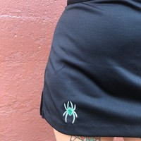 Spooky Spooky - Vintage 90's Skort Black With Green Spider Embroidered Detail