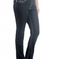 "Plus Bailey Bootcut w/ Pieced Denim Sequin Back Pocket- 33"" Inseam- 19"" Leg Opening Low rise zip fly stretch jean"
