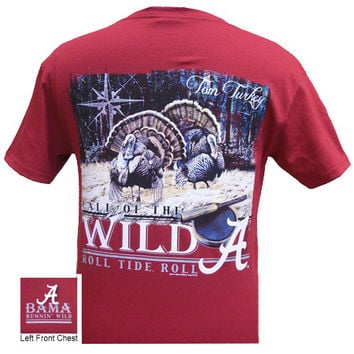 Alabama Crimson Roll Tide Bama Call of the Wild Turkey Unisex Bright T-Shirt