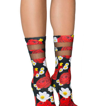 Rosey Dreams Mesh Socks