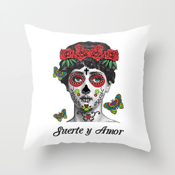 Tattooed lady mexican skull woman Suerte y Amor  Throw Pillow by Natura Picta