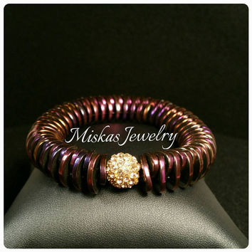 Amazing One-of-a-kind Hematite Beaded Bracelet w/ Alloy Rhinestone  Spacers For Miska's Jewels