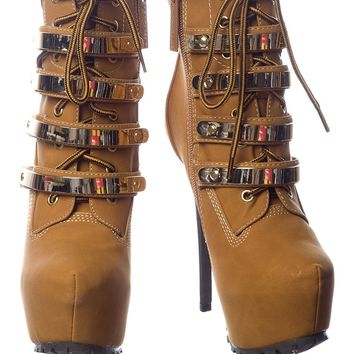Abstract Construct Platform Stiletto Booties - Camel from Breckelles at Lucky 21