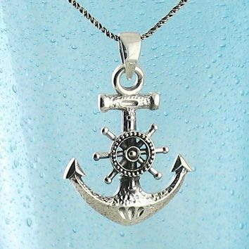 Hammered Anchor with Steering Wheel Necklace