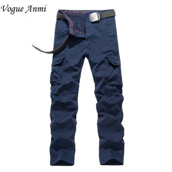 Vogue Anmi.2017 Brand New Men Cargo Pants Military Army Pant Cotton Khaki/Army/Blue/Red Big Size 30-40 Elastical Men Pants