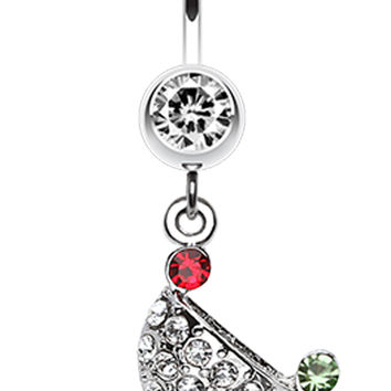 Sparkling Martini Glass Charm Dangle Belly Button Ring