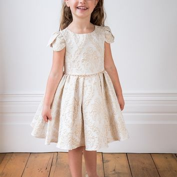 DAVID CHARLES Girls' Ivory and Gold Brocade Dress