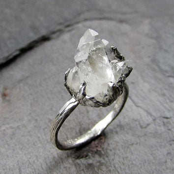 natural arkansas quartz crystal cluster sterling silver gemstone ring raw rough crystal recycled sterling cocktail statement - Crystal Wedding Rings
