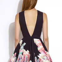 Floral Dress Spring - Black Sleeveless Floral Print Flare Dress
