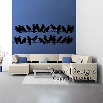 Large Birds on a Wire Vinyl Wall Decal Sticker