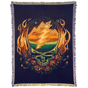 Grateful Dead Scarlet Fire Stealie Woven Cotton Blanket