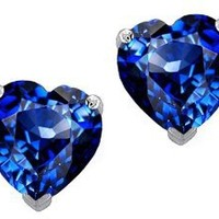 Original Star K(tm) 7mm Heart Created Sapphire Earring Studs in .925 Sterling Silver: Jewelry: Amazon.com