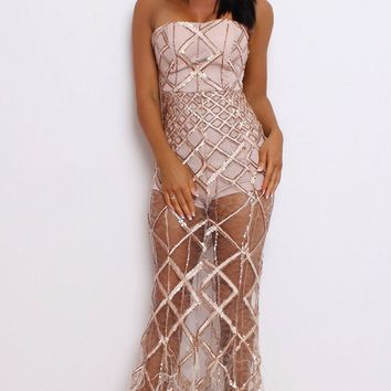 Turn Back Time Gold Sheer Mesh Diamond Geometric Pattern Sequin Feather Strapless Maxi Dress