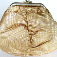 Gold Brocade Envelope Clutch Evening Bag / Vintage Antique Hand Strap Purse