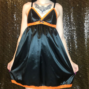 Black and Orange Silk Nightgown