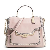 MADISON SADIE FLAP SATCHEL IN TWO-TONE PYTHON EMBOSSED LEATHER
