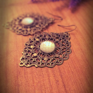 Gypsy bronze earrings,boho dangle earrings,Filigree earrings,Victorian earrings,ethnic earrings,retro earrings,vintage earrings,ornament