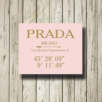 PRADA MILANO Coordinates Latitude Longitude Golden Black Pink White Print Poster Printable Instant Download Wall Art Home Decor G076p