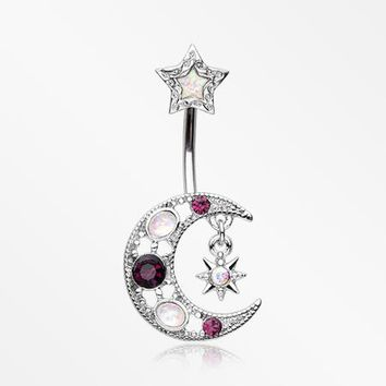 Celestial Opal Moon Star Belly Button Ring