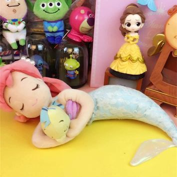 Original Cute The Little Mermaid Ariel Princess Flounder Fish Lace Soft Stuffed Plush Toy Doll Birthday Gift Children Girl Gift