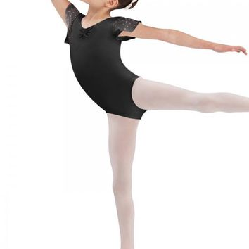 Bloch Tulip sleeve leotard with sequin motif detail. Clearance