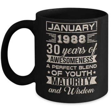 DCKIJ3 Classic Vintage Limited January 1988 30th Birthday Mug
