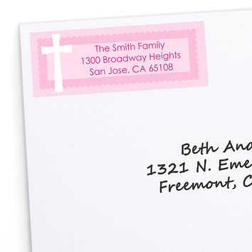 Delicate Pink Cross - Personalized Baptism Return Address Labels - 30 ct