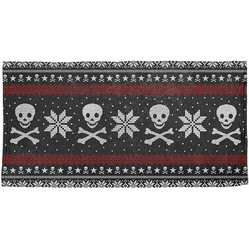 Ugly Christmas Sweater Pirate Skull and Crossbones All Over Beach Towel