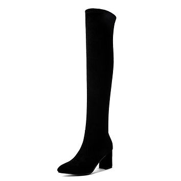 Velvet Tall Boots Winter Shoes for Woman 1545