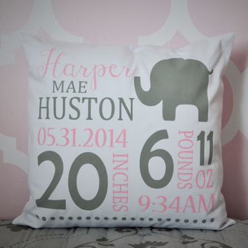 Elephant Theme - Personalized birth pillow cover