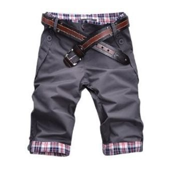 Men Waist Loop Plaid Trim Roll up Cuffs Casual Shorts Pants