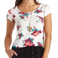 Cross-Back Floral Print Crop Top by Charlotte Russe