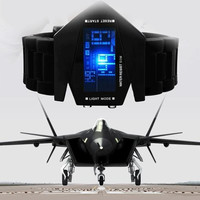 2014 NEW Stealth Plane Aircraft Bomber Shape Sports LED Digital Watch Silicone waterproof Date Chronograph 12 color Women/Men Watches 100pcs