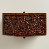 Espresso Ersilia Carved Jewelry Box