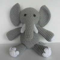 Crochet Elephant Amigurumi Toy Stuffed Animal Doll Grey and White