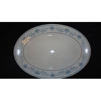 Noritake 14in Platter Contemporary Medium Oval 2482 Blue Hill Vintage China -- Used