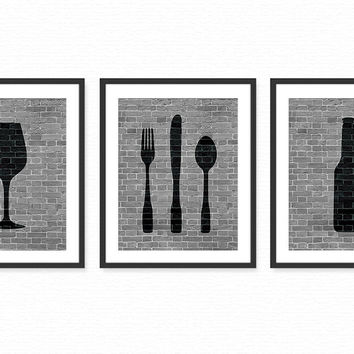 Modern Dining Room Art Prints - Beer, Wine, Fork, Knife, Spoon - Set of 3 8x10 Dining Room or Kitchen Art / Wall Art Decor Digital Prints