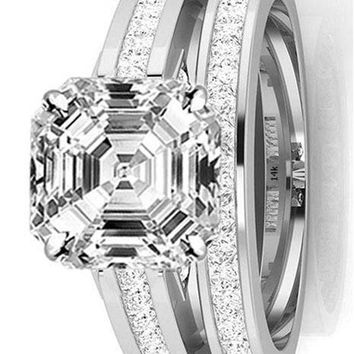 .2.7 Ctw 14K White Gold GIA Certified Asscher Cut Channel Set Princess Cut Bridal Set Diamond Engagement Ring Wedding Band, 2 Ct D-E VS1-VS2 Center