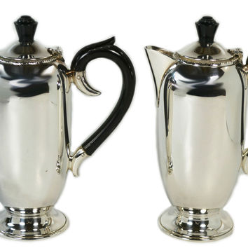 Silver Plated Tea and Coffee Pot Set by Viners, Vintage English, circa 1930
