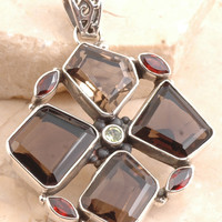 Fascinating Smoky Quartz/ Garnet Pendent in 925 Sterling Silver