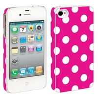 White Polka Dot on Hot Pink iPhone 4/4S Hard Shell Case