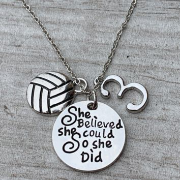Personalzied Volleyball She Believed She Could So She Did Necklace