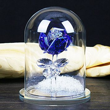 H&D 4.7'' Crystal Enchanted Rose Blue Rose Flower Figurine in a Glass Dome with Gift Box Gifts for Her,Home Wedding Decor