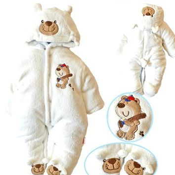 Thick Warm Cotton Fleece Baby Long Sleeve Hooded Romper Baby Girl One Pieces Cute Clothes Jumpsuits
