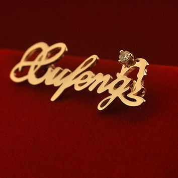 Monogram Brooch with your own design, Personalized Name Sterling silver Brooch - XIONGZHENG1