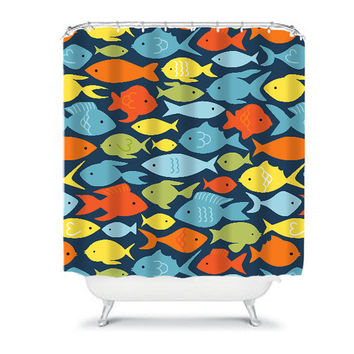 FISH Shower Curtain Monogram Child Kid Nautical Ocean Sealife Navy Colorful Bathroom Bath Polyester Made in the USA