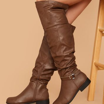 Wide Width Buckle Accent Ruched Knee High Boots