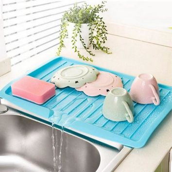 Kitchen Plastic Dish Drainer Tray Large Sink Drying Rack