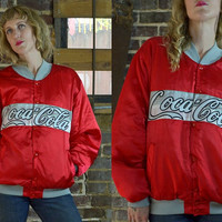 Vintage 80's Coco-Cola Red Satin Starter Style Jacket