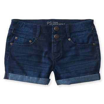 Kids' Soooo Stretchy High-Waisted Dark Wash Denim Shorty Shorts - PS From Aeropostale
